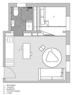 House Plans Under 50 Square Meters: 26 More Helpful Examples of Small-Scale Living,Cortesía de Brad Swartz Architect House Plan App, Small House Plans, House Floor Plans, The Plan, How To Plan, Layouts Casa, House Layouts, Nook Architects, 6 Bedroom House Plans