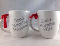 Coffee Mug Set Good Morning Husband and Wife by BellaCuttery, $20.00