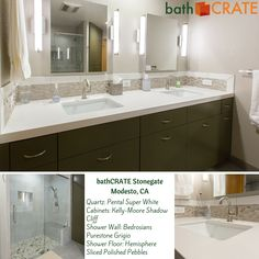 Much in alignment with current design trends, this client elected for cool tones, a new custom vanity with flush door and drawer fronts, a quartz vanity top, a nearly frameless shower door and a sliced-pebble shower floor.  We think you'll agree, the results are amazing!