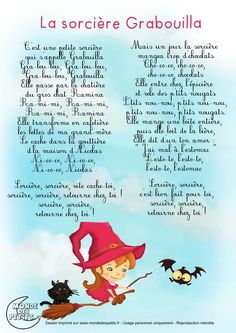 Paroles_La sorcière Grabouilla Preschool Music Activities, Halloween Activities For Kids, Preschool Halloween, Educational Activities, Halloween Poems, Halloween Halloween, French Poems, Music For Kids, Teaching French