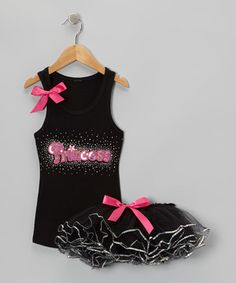 Another great find on #zulily! Black 'Princess' Tank & Sequin Tutu - Toddler & Girls by Bling Diva #zulilyfinds