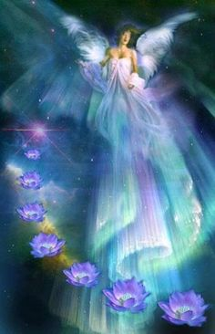 Angel with cascade of lotus flowers