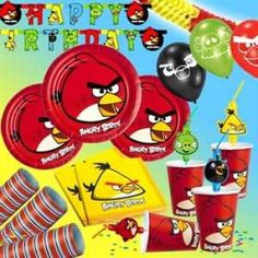 RZOnlinehandel - Partyset Angry Birds für bis zu 8 Kinder - 52-teilig Party Set, Angry Birds, Box, Birth, Snare Drum
