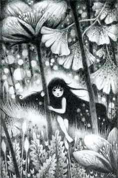 ilustracion, lápiz, bosque