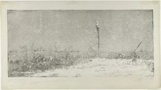 """Ludovic Napoléon Lépic (French, Snow in the Fog. From the series """"Views from the Banks of the Scheldt"""". The Baltimore Museum of Art: Garrett Collection, BMA"""