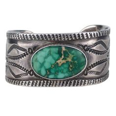 Navajo Stamped Silver Bracelet with Turquoise Cabochon, Sterling Jewelry, Sterling Silver Necklaces, Silver Jewelry, Vintage Jewelry, Silver Rings, 925 Silver, Jewlery, Native American Tribes, Native American Jewelry
