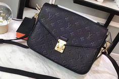 Louis Vuitton M41487 Pochette Metis Monogram empreinte Leather Bags Black