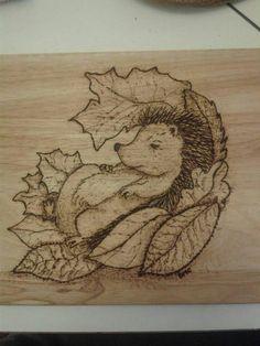 pyrography Hedgehog on a chopping board :)