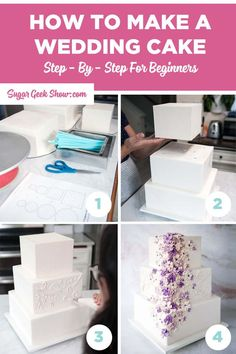 How to make a wedding cake step by step. I go over everything from the right tools to use how to bake your cake layers how to frost your cakes and decorate them with buttercream flowers. Wedding Cake Icing, How To Make Wedding Cake, 3 Tier Wedding Cakes, Wedding Cake Prices, Square Wedding Cakes, Floral Wedding Cakes, Wedding Cake Decorations, Wedding Cakes With Flowers, Floral Cake