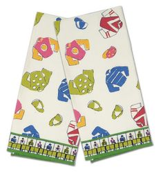 """Starting Gate - Cotton Tea Towels! It's Derby time! Keep things tidy with these colorful racing tea towels. Pair of towels features classic pattern of racing silks and caps against a white background. 100% cotton. 20""""x28"""""""