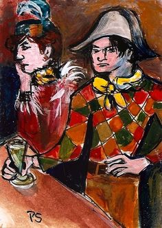 ACEO Spring2015 Style of Pablo Picasso Au Lapin Agile Painting by Penny StewArt #Expressionism  #aceo #art #eBay #Spring2015 #soldiers