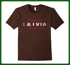 Mens Latvia Retro Flag T-Shirt Latvian Distressed Graphic 3XL Brown - Retro shirts (*Amazon Partner-Link)