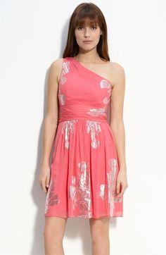 Eliza J Metallic Chiffon One Shoulder Dress   Nordstrom - StyleSays