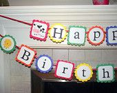 Happy Birthday Banner - Old Mcdonald had a farm, barn yard farm theme with pigs, horse, cow, chicken in primary colors