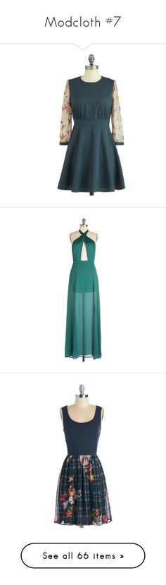 """""""Modcloth #7"""" by sammyjohnson ❤ liked on Polyvore featuring dresses, modcloth, a line dress, short a line dresses, short sleeve dress, sheer long sleeve dress, short dresses, gowns, gown and vestidos"""