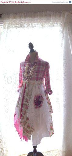 SALE Pink Duster Bohemian fall Dress Boho by TrueRebelClothing, $100.50
