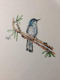 Cute bird Watercolor Card
