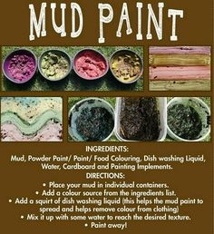 Mud Paint recipe to be put in mud kitchen (simplify & reproduce)