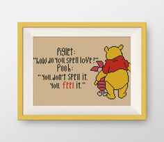 Winnie the Pooh cross stitch pattern, PDF counted cross stitch pattern, Quote cross stitch pattern, you feel it, P115 by NataliNeedlework on Etsy