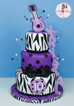 Name down side rocks this White, Purple and Black Zebra cake