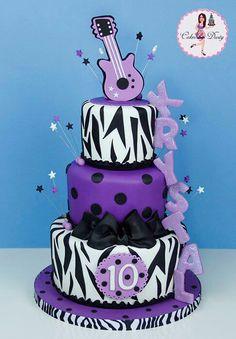 Name down side rocks this White, Purple and Black Zebra cake