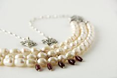 Victorian Inspired Red Garnet and Freshwater Pearl by DawBDesigns, $95.00