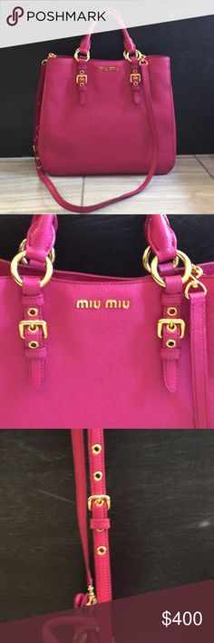 5d7484b2154e Shop Women s Miu Miu Pink size OS Shoulder Bags at a discounted price at  Poshmark. Description  Miu Miu excellent condition all leather hot pink  purse with ...