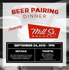 Micky's Public House & Mill Street Brewing : A 5 Course Craft Beer Pairing Dinner