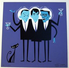 Three Hipsters (Rat Pack) by Shag Mid Century Modern Art, Mid Century Art, Kitsch, Tiki Art, Tiki Tiki, Black Cat Art, Black Cats, Hipster Art, Retro Art