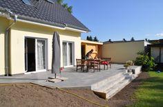 Patio, Backyard, Garage Extension, Back Garden Design, Back Gardens, Yard Landscaping, New Homes, Home And Garden, House Design