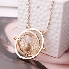Harry Potter Hermione Granger Rotating Time Turner Gold Necklace