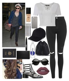 """airport with Harry"" by kennedey-lynn-freeman ❤ liked on Polyvore featuring Topshop, Pilot, Yves Saint Laurent, Smashbox, Royce Leather, Native Union, Each X Other, ZeroUV, Lime Crime and MAC Cosmetics"