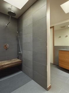 Large format grey tiles in shower, alcove and timber seat. ninebark design - Google Search