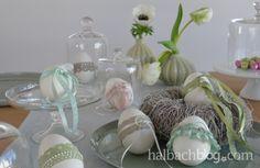 halbachblog I Ostereier basteln mit Spitze, Bändern und Perlen I Pastell
