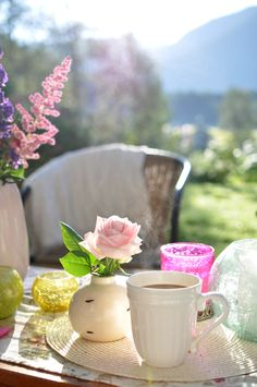 Spring breakfast with coffee and flowers