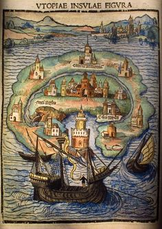 Hand-tinted map of the Island of Utopia from A Fruitful and Pleasant Work of the Best State of a Public Weal, and of the New Isle Called Utopia by Thomas Moore, 1516