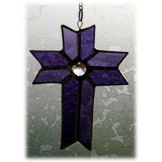 Cross Suncatcher Stained Glass Purple Crystal Handmade £9.50