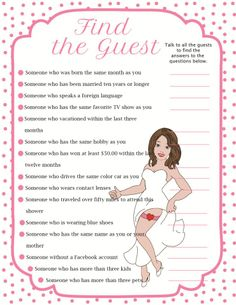 "Fun Bridal Shower Game ""Find the Guest"""