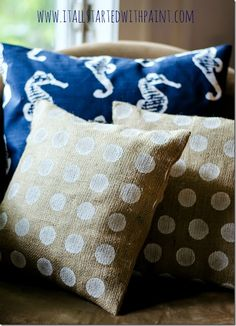 Burlap Polka Dot Painted Pillows - It All Started With Paint
