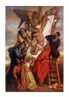 An African-American art print by Tim Ashkar featuring a Black Jesus Christ being removed from the cross after his crucifixion. African American Art, African Art, Black Art Pictures, Black Jesus Pictures, Black Church, Black Love Art, Cross Art, Biblical Art, Black Artwork