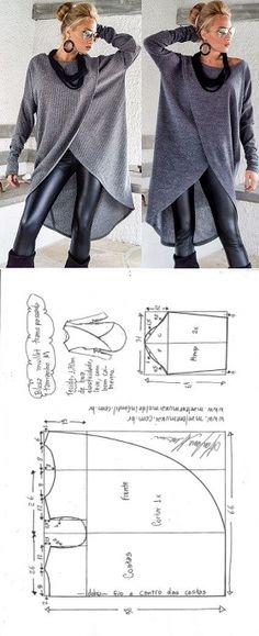 Blusa mullet transpassada para malha | DIY - molde, corte e costura - Marlene Mukai // Taika