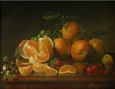 JEANNE ILLENYE - Still Lifes: Orange Burst CLASSICAL REALISM still life oranges, strawberries with blossoms, grapes, branch of cherries, lemon, seeds, dewdrops, realism