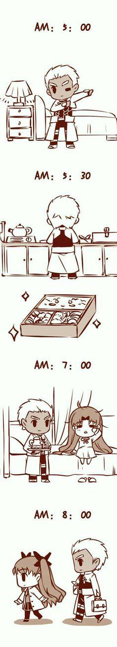 Fate/ Stay Night Archer x Rin Doujinshi - Accuracy hurts Fate Stay Night Archer, Fate Stay Night Series, Fate Stay Night Anime, Fate Archer, All Anime, Anime Manga, Anime Art, Chibi, Archer Emiya