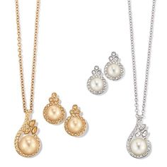 Faux pearls surrounded by an array of rhinestones with matching pearlesque drops. Offered in your choice of a goldtone set with champaign colored faux pearls or in silvertone with cream colored faux pearls. Imported. ON SALE $9.99 ea. set was $19.99. Buy AVON online @ www.youravon.com/suman or click the image above!