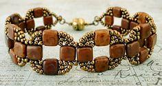 "COIN BANDS   11/0 seed beads Miyuki ""Dark Bronze"" (457D)  8/0 seed beads Miyuki ""457D"" (457D)  CzechMates ""Brown Caramel Picasso""   Her..."