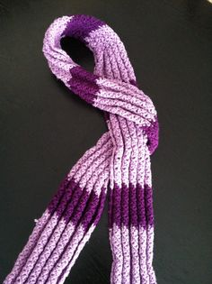 Crocheted Lavender scarf using the chevron pattern