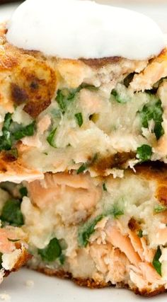 Salmon Cakes with Chive and Garlic Sauce.