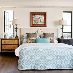 Loving this neutral bedroom, especially that headboard. Check out more pretty headboard decorating ideas here: by rosanne Headboard Decor, Headboard Designs, Bedroom Decor, Headboards, Blue Headboard, Bedroom Ideas, Shabby Bedroom, Pretty Bedroom, Shabby Cottage