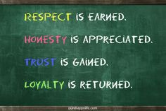 #life #quotes purehappylife.com - Respect is earned. Honesty is appreciated. Trust is gained. Loyalty is returned.