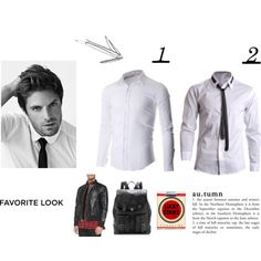 """white shirt for men"" by flatseven on Polyvore FLATSEVENSHOP.COM #shirts #menswear #casual #denim #mens #fashion"